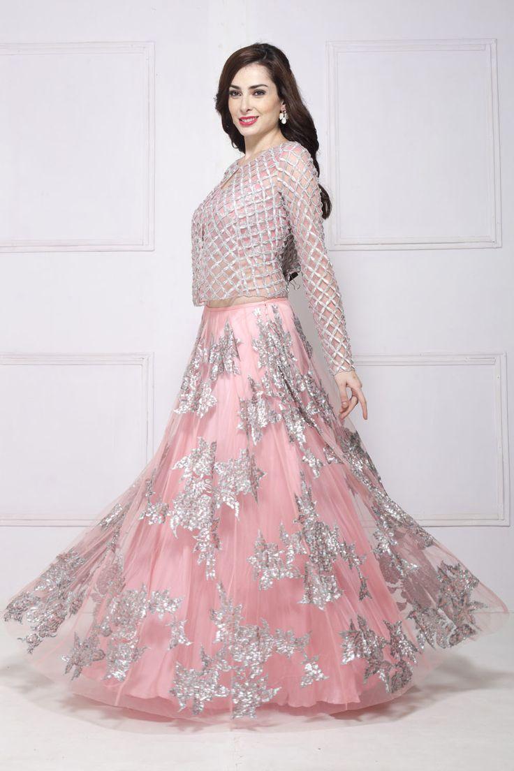 SHEHLA KHAN blush pink jacket style lehenga set  #Flyrobe #Bride #Wedding #Lehenga #IndianWedding #designer #designerlehenga #lehengacholi #lightlehenga #heavylehenga