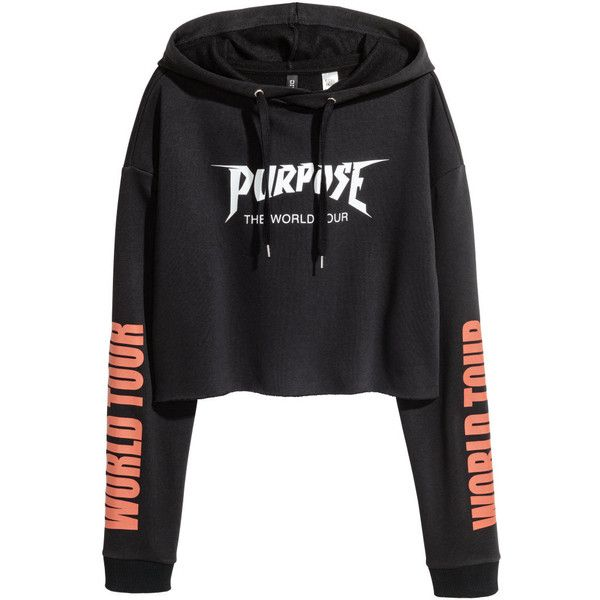 Short Hooded Sweatshirt $29.99 ($30) ❤ liked on Polyvore featuring tops, hoodies, short hooded sweatshirt, hooded pullover, patterned tops, print top and cut off hoodie