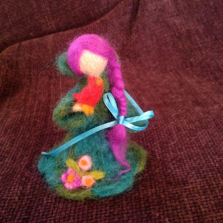 Waldorfian wool needle felted girl with bird, handmade, 10 cm, by artbythebeth on Etsy