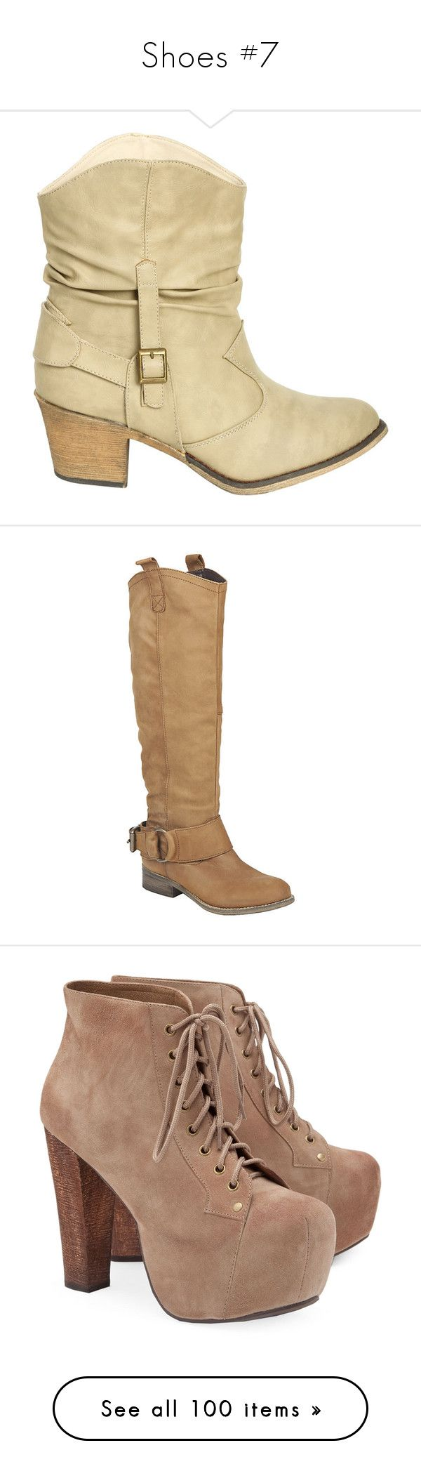 """""""Shoes #7"""" by taborbot ❤ liked on Polyvore featuring shoes, boots, zapatos, sapatos, wet seal shoes, stacked heel boots, short boots, wet seal, mid-heel boots and cognac leather"""
