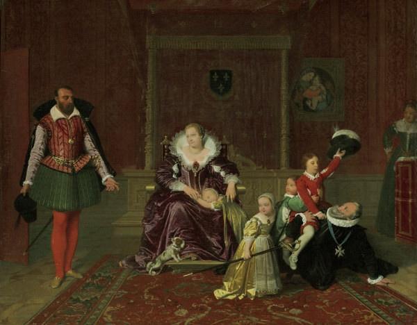 Henri IV joue avec ses enfants devant l'ambassadeur d'Espagne- Enfants légitimes (suite):  Gaston de France, duc d'Anjou puis d'Orléans à la mort de son frère (24 avril 1608-2 juin 1660) épouse en 1626 Marie de Bourbon (1605-1627) puis en 1632 Marguerite de Lorraine (1615-1672).- Henriette de France (25 nov 1609-10 sept 1669) épouse Charles I° d'Angleterre le 13 juin 1625 à la cathédrale de Cantorbery.