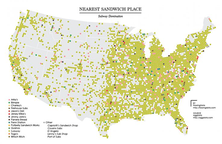 Mapped: Every popular sandwich chain in the U.S. - The Washington Post