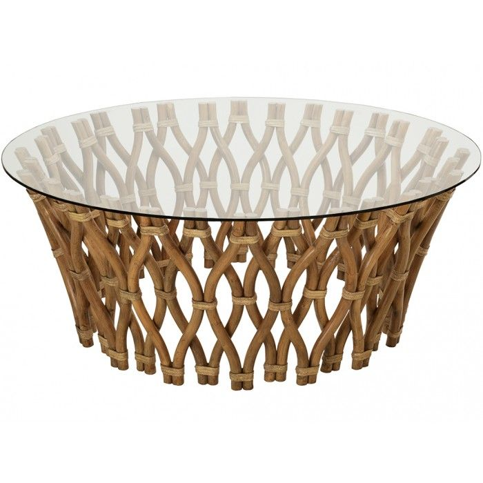 hoop rattan coffee table honey brown with glass top