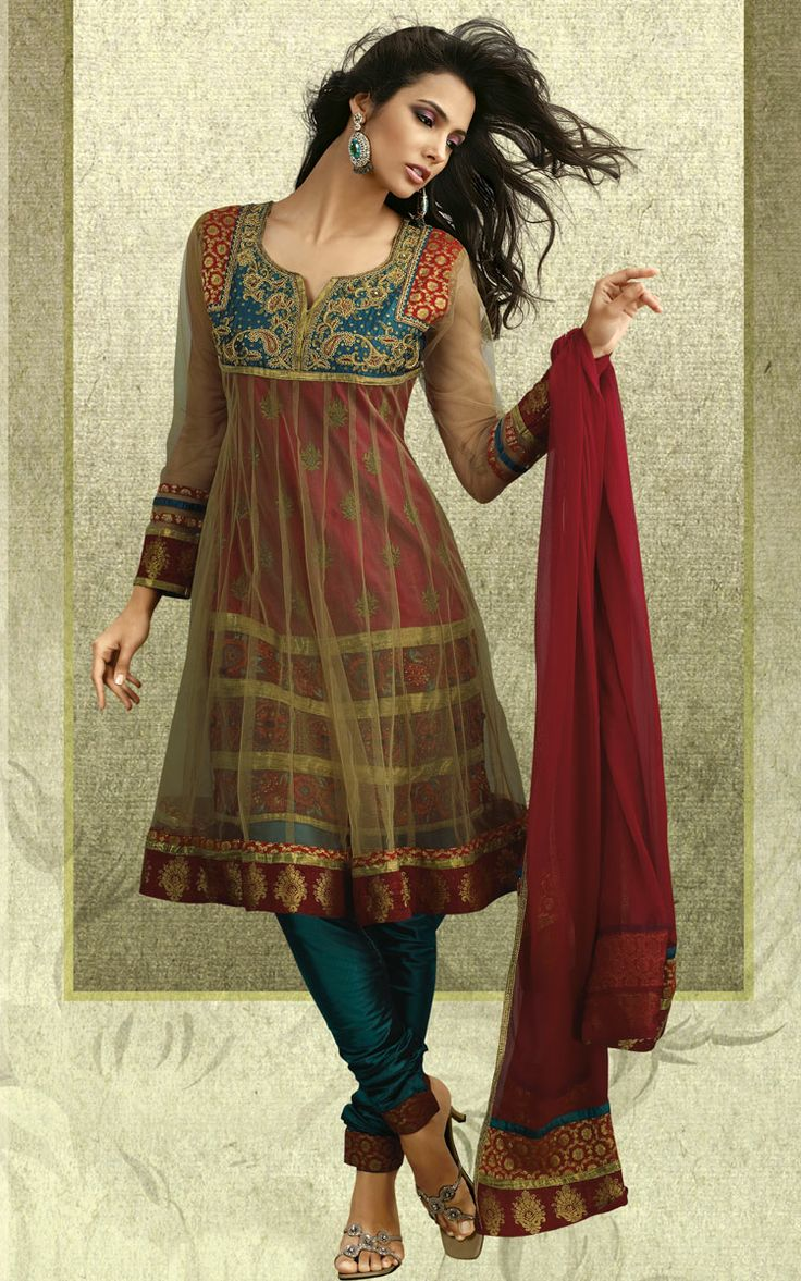 Anarkali...love the combination of different fabrics