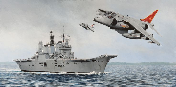 As a tribute to the passing of two great craft, here is a painting of the very last Harriers to fly off HMS Ark Royal before they were all decommissioned.
