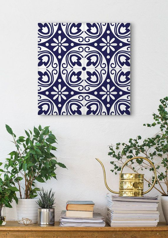 Vintage Canvas Print Blue Tile Art Modernist Wall by Macrografiks