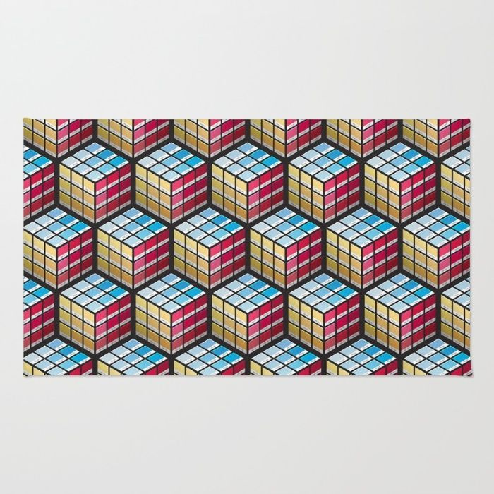 Pancube Area & Throw Rug - Pantone, PMS, colour, colours, matching, swatch, swatches, Rubik's cube, game, puzzle, primary, red, yellow, blue, graphic design, designer, prepress, preflight, vector, art, design, illustration, cube, cubes, design, illusion