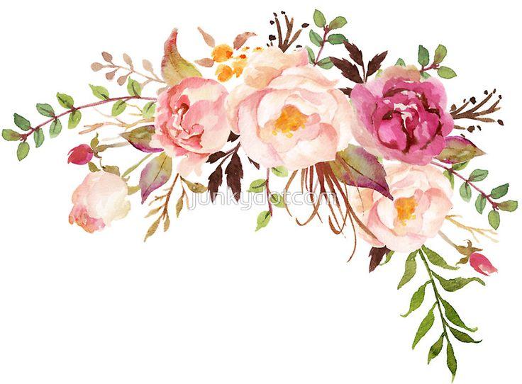 Romantic Watercolor Flower Bouquet sticker  @redbubble #junkydotcom Aug 8 2016