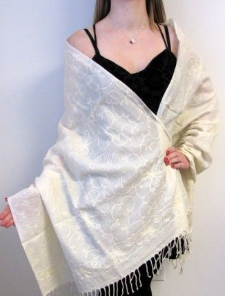 "This wonderful cream #embroidered warm #cashmere #pashmina #shawl makes a statement for any occasion. our embroidered cashmere pashmina #wool #shawls #wraps for #women is warm stylish and would make a great gift for any one at #YoursElegantly.  Size: 82"" X 28"" plus 3"" fringe Price: $64.99"