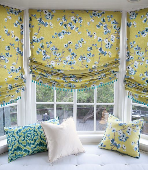 Relaxed Roman Fabric Shades in 15204 Shimji Blossom/ Citrine with Glass Bead Trim in Turquoise