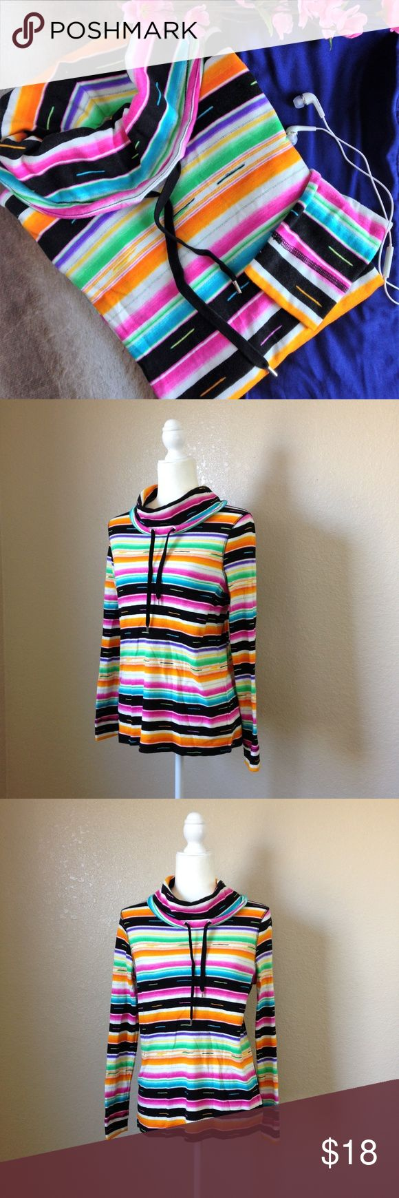 """Chaps Striped Cowl Neck Long Sleeve Top Super cute Chaps Sport running top, in adorable multicolor stripes. Features drawstring cowl neck, long sleeves and side slits. Gently used, 100% cotton, size S. Approximate measurements when laid flat are 18"""" bust and 23"""" long. Chaps Tops"""