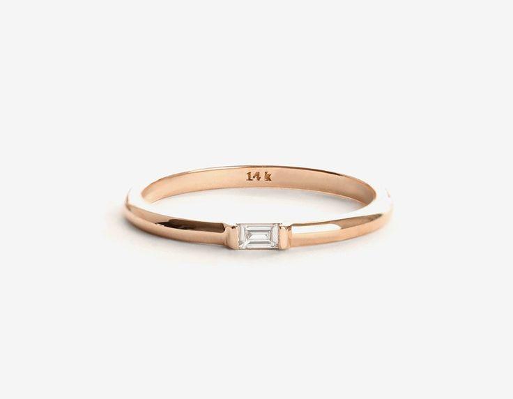 14k rose gold baguette diamond ring