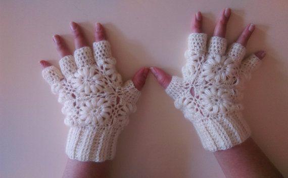 Half Finger Crochet Gloves /Color Option / White by GOOLASHOP
