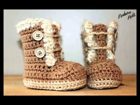 ▶ Fur Trim Baby Booties - Crochet Pattern Presentation. - YouTube