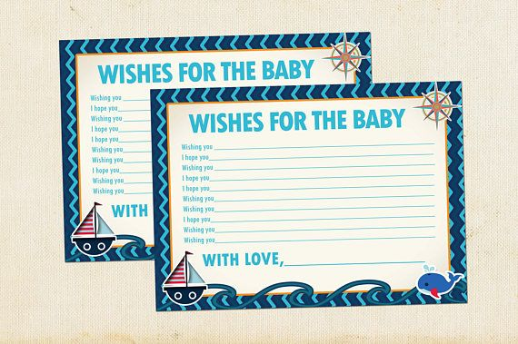 Nautical Wishes for Baby Baby Shower Card, Wishes for Baby Baby Shower, Baby Shower Wishes for Baby, Well Wishes for Baby, Instant Download