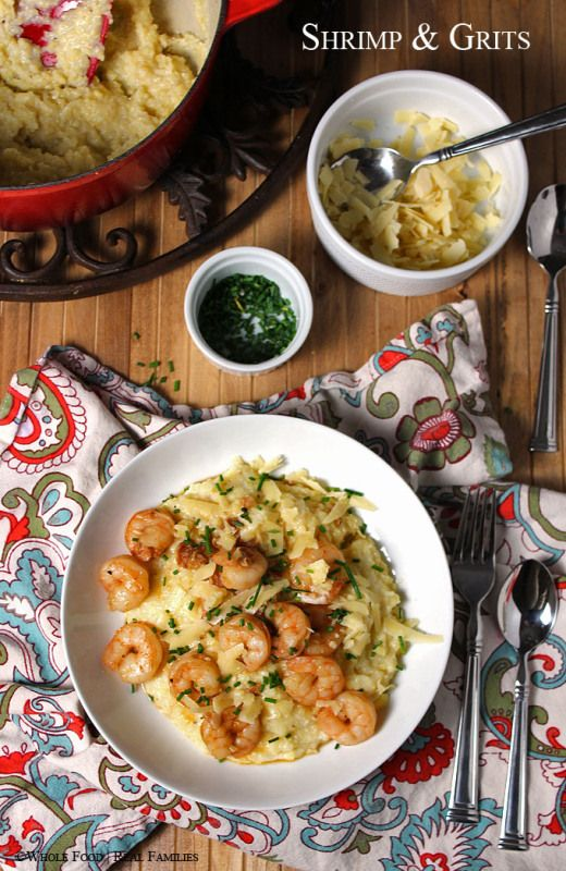 Lowcountry Shrimp and Grits. An easy, whole food, healthy recipe.