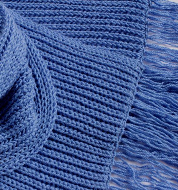 """Scarf """" Denim"""". Wool. 29 cm x 198 cm with fringe"""