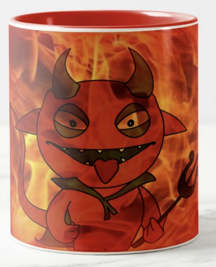 Have you got a friend that you like to joke around with? Here's a surprise gift for them. They'll think of you whenever they drink from this fiery mug! Little Lucifer seems to be enjoying himself in the heat. Good fun.