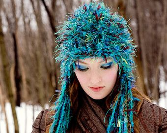 etsy Sleepy King | Peacock Hat with Exquisite Textural Yarns and Vibrant Rich Tones of ...