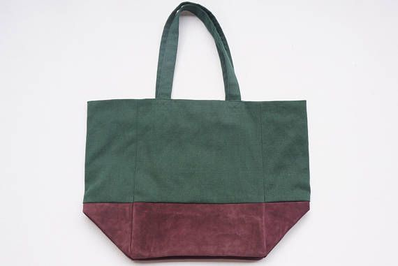 Extra Large Tote Bag in Purple & Green