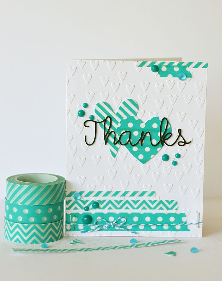 Thanks card with new Queen and Co. Trendy Tapes in turquoise. Part of our new basic washi tapes.