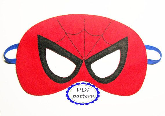 PDF PATTERN: Spiderman Superhero felt Mask DIY sewing tutorial - Red Black - kids boys girls adults Dress Up play costume accessory