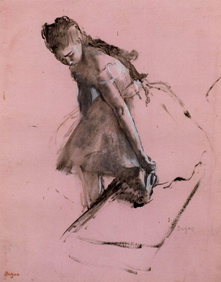 Edgar Degas - Dancer slipping on her shoe (1874)