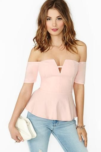 Angeline Peplum Top in in Blush by #NastyGal