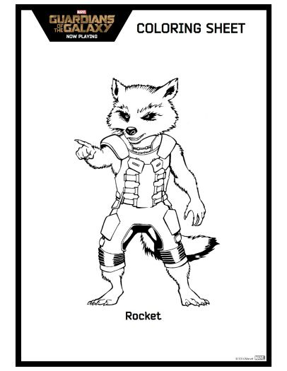 Guardians Of The Galaxy Rocket Coloring Page Printable
