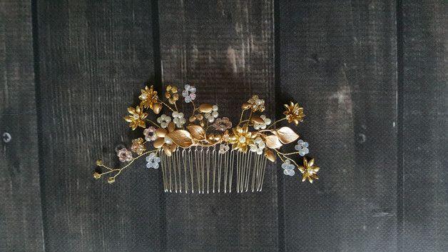 grzebyk ozdobny na głowę - handmadebykicia - Grzebyki do włosów