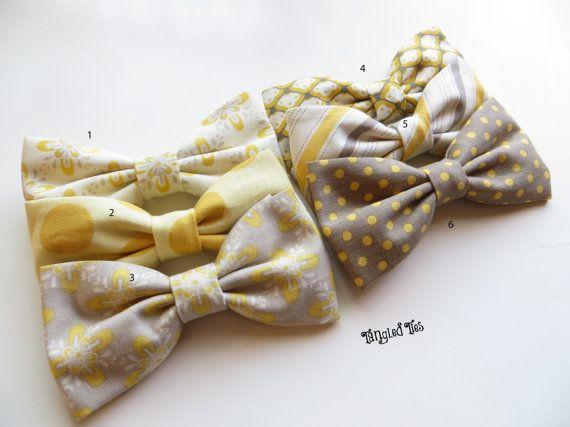 Giallo/grigio-marrone Groomsmen Bow cravatte, cravatte di nozze, coordinato Papillon, Mix e Match Papillon