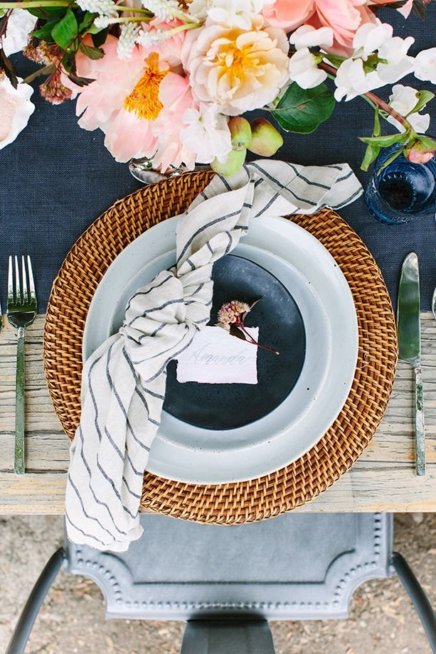 Shop Artesia Rattan Charger Plate, Welcome White Dinner Plate, Welcome White Salad Plate, Jars Tourron Black Salad Plate, Set of 4 Suits Linen Napkins and more