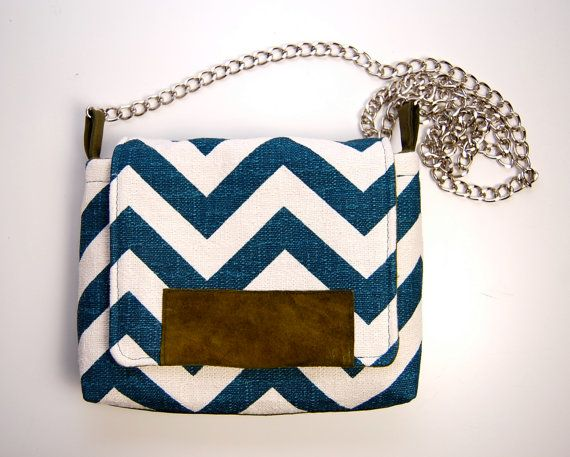 Very cool bag. The MAROL Cross body in teal and cream chevron with by ao3designs