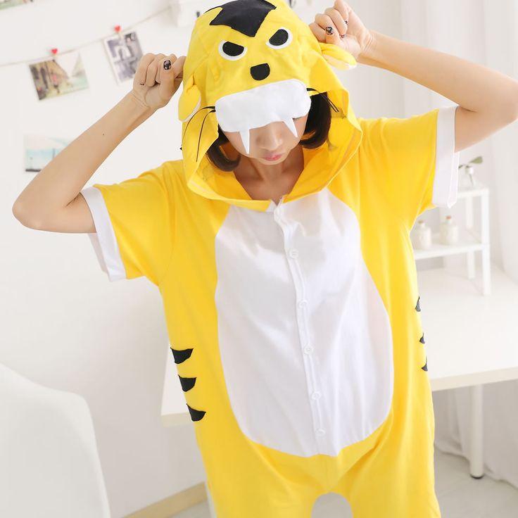 >> Click to Buy << Summer Cotton Pajamas Animal Cartoon Cospaly Costume Short Pyjamas Unisex Family matching Onesie Hooded Sleepwear Yellow Tiger #Affiliate