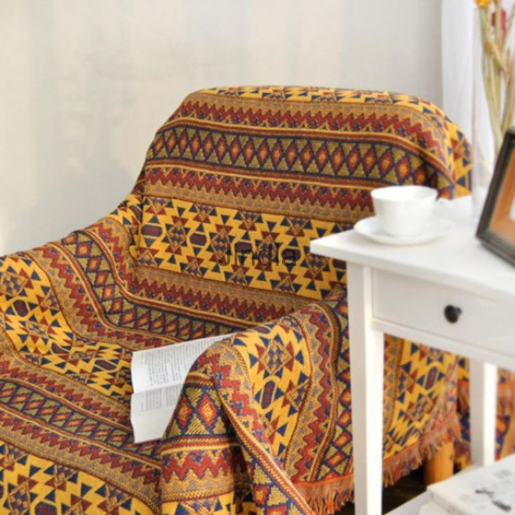 Jacquard Textiles, Sofa Throw Cover Cotton Armchair Bed Blanket - Western
