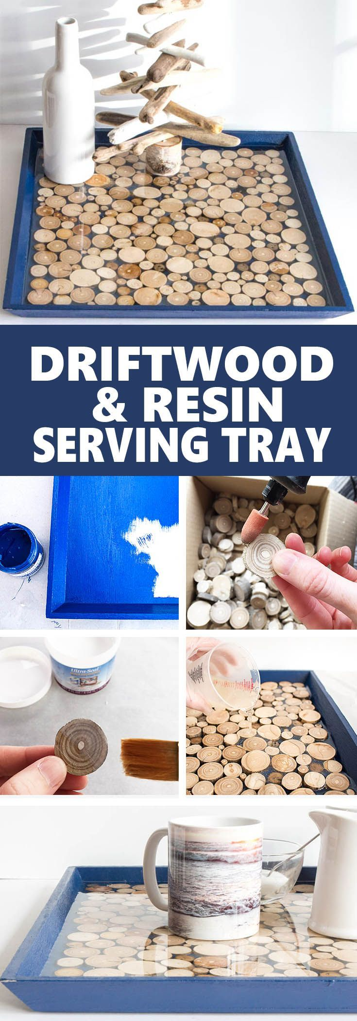 DIY serving tray with driftwood slices and EnviroTex Lite Pour-On Resin. Gorgeous handmade home decor or gift idea. #CoastalStyle #ResinCrafts #ResinDecor #ResinCraftsBlog via @resincraftsblog