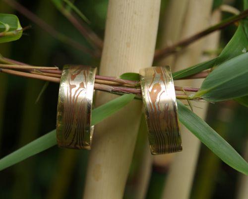 Mokume-gane trouwringen.