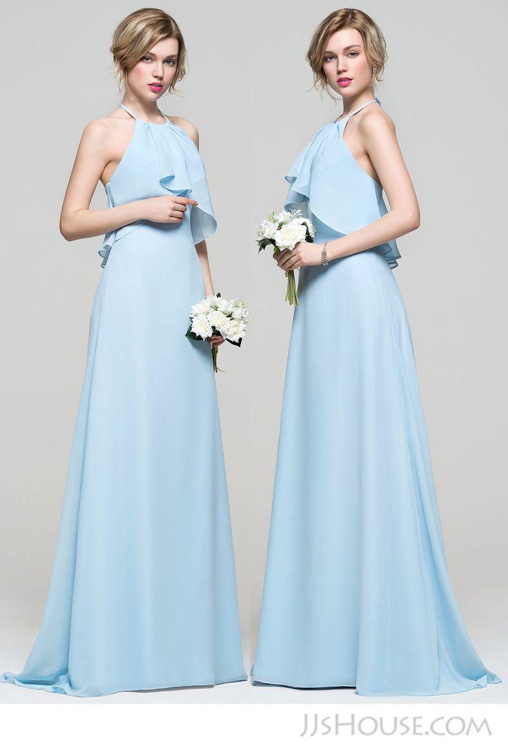 Simple halter bridesmaid dress.  #JJsHouse #JJsHouseBridesmaidDress