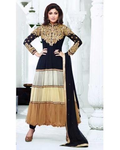 Salwar Bollywood Célébrité Shilpa Shetty Anarkali Noir beige et Marron