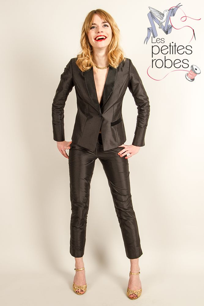 Smoking / Suit : Renée - Soie sauvage, col en satin duchesse / Raw silk, Zheel satin neck - www.lespetitesrobes-soie.com