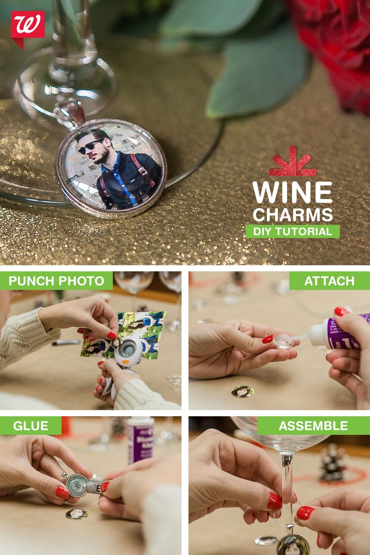 Keep drink mix-ups at bay at your holiday soiree! These photo wine charms mark each person's beverage and make great party favors after the evening is over. See the how-to on our Smile blog!