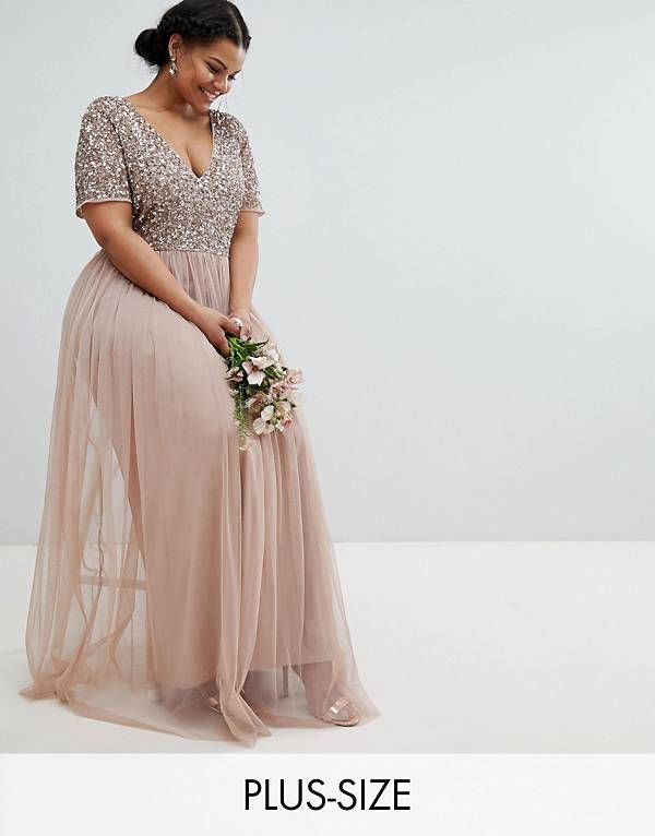 d1fa299e619c Maya Plus V Neck Maxi Tulle Dress with Tonal Delicate Sequins ...