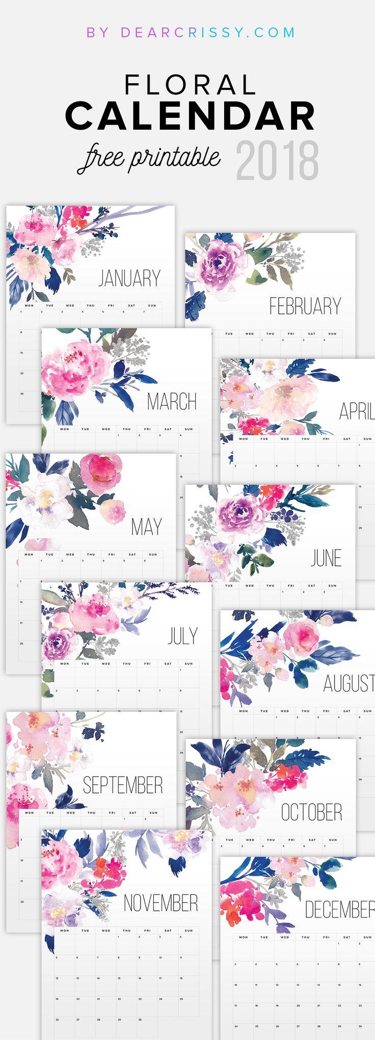 Free Printable Floral Calendar 2018 #Calendar #FreePrintable #PrintableCalendar #2018