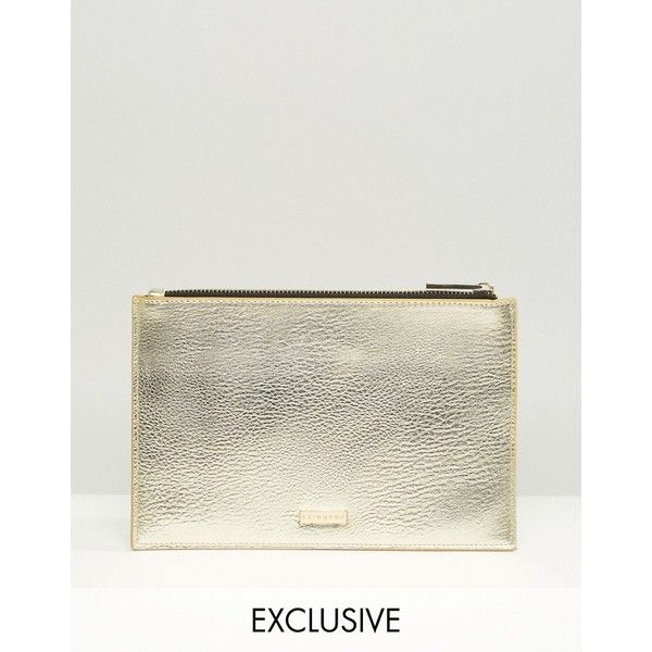 Skinnydip Exclusive Zip Top Pouch Bag in Gold (£16) ❤ liked on Polyvore featuring bags, handbags, clutches, gold, gold handbags, zip top purse, pouch handbags, zip top handbags and gold purse