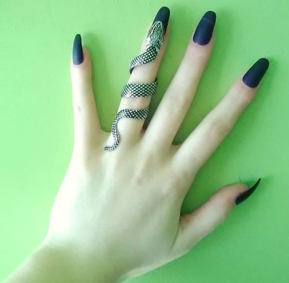 This ring is inssssssssssane // Silver Snake Full Finger Ring