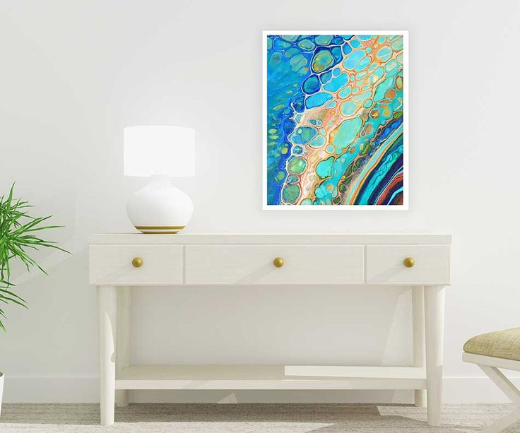 Abstract coastal art, printable nautical painting, printable wall art.