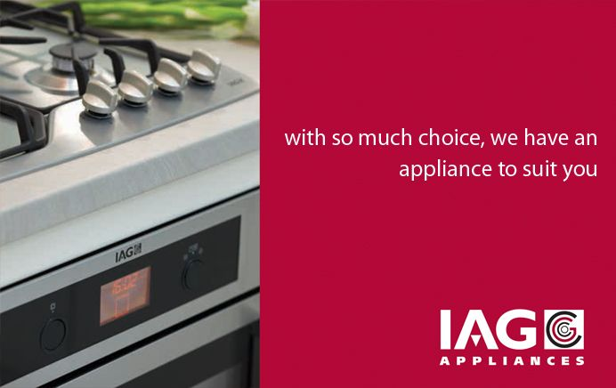 IAG Appliances - The Future in Appliances  IAG Appliances latest range of kitchen appliances is the result of extensive research, design and commitment to state of the art technology.  Our appliances are manufactured and designed to exacting European standards. IAG Appliances offer a range of appliances with functions to match your cooking needs and lifestyle. Quality inclusions to help prepare the perfect meal, reduce energy consumption and maintenance all at realistic prices.