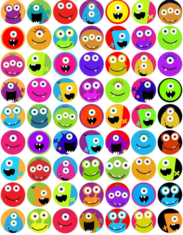 digital collage sheet monsters one inch circles