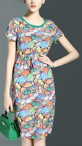 Multi Colored Mushroom Print Silk Dress