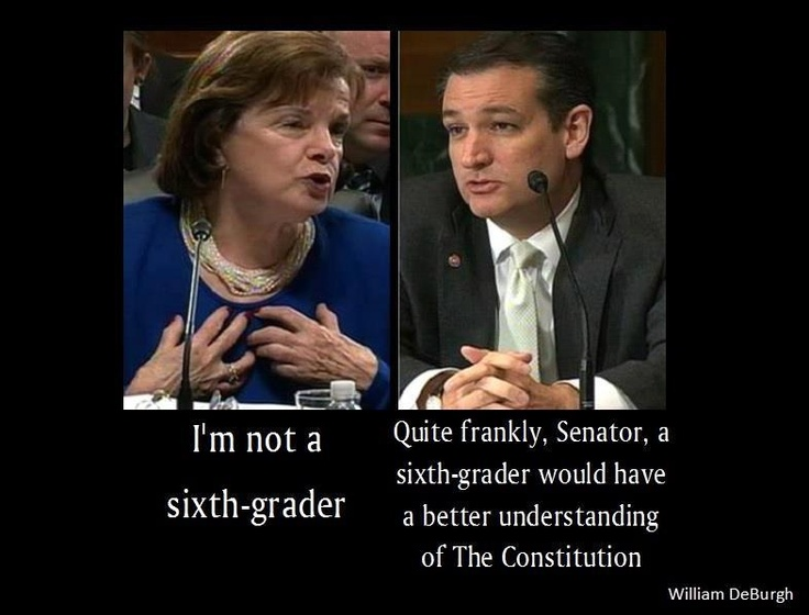 Are you smarter than a sixth-grader? Diane Feinstein gets schooled by Sen Ted Cruz...bravo..